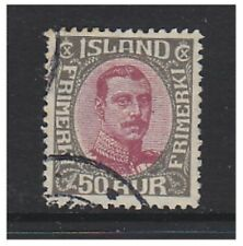 Iceland - 1920, 50a Claret & Grey King Christian X stamp - Used - SG 128