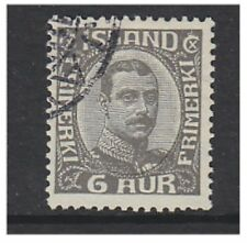 Iceland - 1920, 6a Grey King Christian X stamp - Used - SG 120