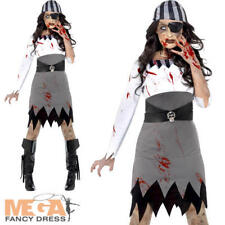 Zombie Pirate Ladies Hallowen Fancy Dress Womens Adults Horror Costume Outfit