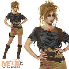 Deluxe Zombie Huntress Ladies Fancy Dress Halloween Undead Womens Adults Costume