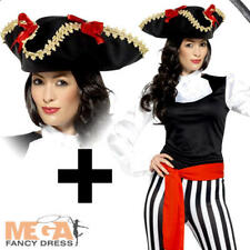 Pirate Ladies + Hat Fancy Dress Carribean Captain Shipmate Womens Adults Costume