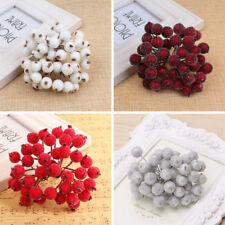 40pcs Mini Christmas Foam Frosted Fruit Artificial Holly Berry Flower Home-Decor