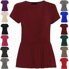 Womens Ladies Oversized Cap Sleeve Front Cross Wrap Over Blouse Tops Plus Size