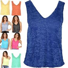Womens Muscle Vest Ladies Burnout Plus Size Top V Neck Front V Back Tank UK 8-22