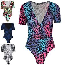 Womens Bodysuit Cap Sleeve Wrap Cross Over VPlunge Deep Neck Stretch Leotard Top