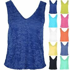 Womens Racer Muscle Back Ladies Burnout Vest Top V Neck Front V Back Tank Uk8-22