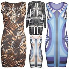 Womens Multi Stripes Sleeveless Stretchy Bodycon Dress Ladies Cut Out Tiger Top