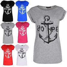Womens Ladies HOPE Anchor Turn Up Cap Sleeve Slim Fit Round Neck Top Tee T Shirt