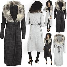 Womens Open Front Ladies Belted Long Sleeve Cape Cardigan Faux Fur Knit Duster