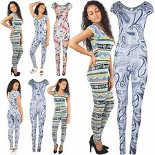 Ladies Printed Cap Sleeve Playsuit Womens Celebrity Keyhole All In 1 Jumpsuit