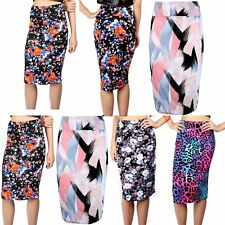 Womens Midi Skirt Ladies Wiggle Tube Bodycon Floral Stretchy High Waist Printed