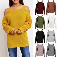 Womens Oversized Jumper Ladies Knitted Cold Cut Shoulder Baggy Straps Bardot Top
