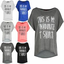 Ladies Womens This Is My Favourite TShirt High Low Baggy Oversized Top Tee Shirt