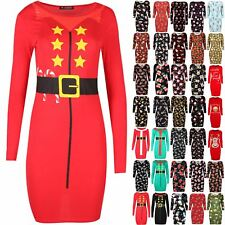 Womens Christmas Xmas Santa Claus Father Suit Belted Costume Bodycon Mini Dress