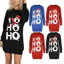 Ladies HoHoHo Snowman Pullover Womens Oversized Sweatshirt Christmas Baggy Dress