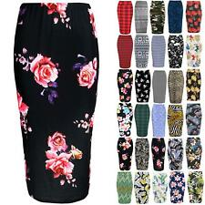 Womens Summer Bodycon Ladies Floral Roses Leaves Stretchy Pencil Tube Midi Skirt