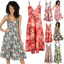 Womens Flare Top Cami Strappy Wrap Over Ladies Mini Swing Skater Dress Plus Size