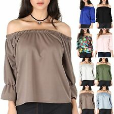 Womens Ladies Off The Shoulder Bardot Peplum Ruffle Bell Sleeve Ruched Baggy Top