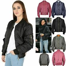 Womens Bomber Jacket Zip Up Biker Stylish Coat Ladies Classic Vintage Style
