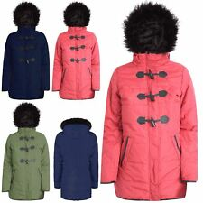 Womens Parka Jacket Ladies Fur Hooded Padded Toggle Duffle Zip Up Quilted Coat