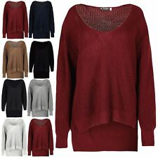 Ladies Womens Chunky Knit Oversized Baggy Long Sleeve V Neck High Low Jumper Top