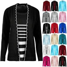 Ladies Long Sleeve Open Front Sweater Womens Inserted Knitted Top Twin Cardigan