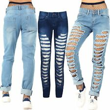 Womens Ladies Skinny Fit Stripes Cut Out Ripped Destroyed Distressed Denim Jeans