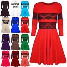 Womens Ladies Flared Franki Lace Trim Smock Mini Swing Skater Dress Plus Size