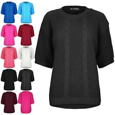 Womens Chunky Knit Sweater Ladies Short Sleeve Stretch High Low Tunic Jumper Top