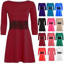 Womens Skater Dress Ladies 3/4 Sleeve Flared Franki Plus Size Waist Lace Detail