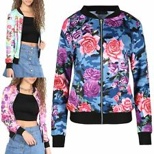 Womens Ladies Floral Camouflage Contrast Baseball Cuffed Zip Up Bomber Jacket