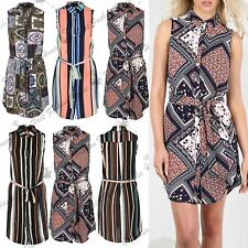 Ladies Multicoloured Stripes Collared Front Button Womens Sleeveless Shirt Dress