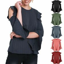 Ladies Womens Frill Cold Cut Out Shoulder Peplum Ruffle Bell Sleeve Ribbed Top