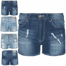 Ladies Womens Dark Denim Wash Raw Edges Ripped Distressed Faded Shorts Jeans