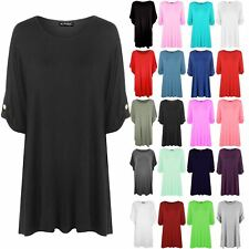 Plus Size Ladies Womens Plain Button Turn Up Short Sleeve Stretch T-Shirt Top