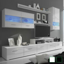 vidaXL Mueble TV Iluminacion LED 250cm Color Blanco/Negro Brillante de 7 Piezas