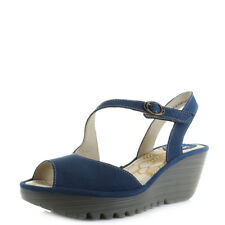 Womens Fly London Yamp Blue Strappy Cupido Leather Wedge Sandals Sz Size