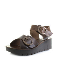 Womens Fly London Yech Bridle Camel Leather wedge Sandals Sz Size
