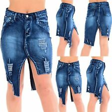 Womens Ladies Denim Zip High Waisted Ripped Cut Out Raw Edge Jeans Mini Skirt