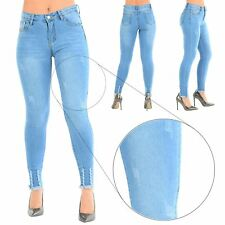 Ladies Womens Stretchy Frayed Destroyed Skinny Fit Ripped Raw Edges Denim Jeans