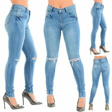Ladies Womens Distressed Destroyed Ripped Cut Out Knee Frayed Fitted Denim Jeans