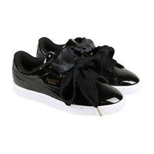 Puma Basket Heart Patent Womens Black Patent Leather Lace Up Sneakers Shoes