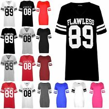 Womens Ladies Varsity Baseball Flawless 89 V Neck Sporty Stripes T Shirt Tee Top