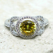 CHARMING 1.5 CT ROUND CITRINE YELLOW 925 STERLING SILVER RING SIZE 5-10