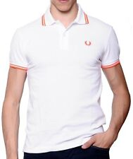Camiseta Del Polo Suéter De Hombre Men Fred Perry Made in Italy Slim Fit blanco
