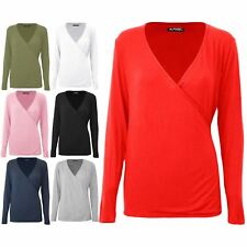 Womens Plain Deep V Neck Front Wrap Over Ladies Tunic Stretchy Baggy T Shirt Top