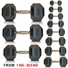 SportEQ Hex Dumbbells Rubber Encased Ergo Weights Sets Hexagonal Dumbbell Gym