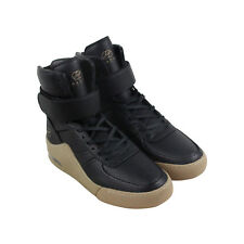 Radii Apex Mens Black Leather High Top Lace Up Sneakers Shoes