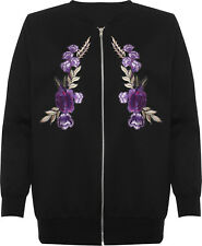 Plus Womens Floral Embroidered Long Sleeve Quilted Bomber Jacket Ladies Zip Coat