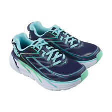 Hoka One One Clifton 3 Womens Blue Mesh Athletic Lace Up Running Shoes